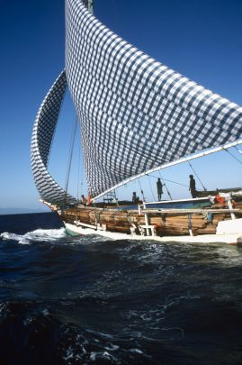 Bughi prow with a load of wood. Indonesia