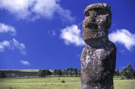 Moai stands watch. Easter Island.