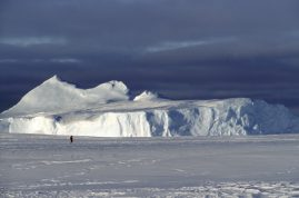 Person walking on sea ice, Antarctica